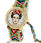 Frida Kahlo Mexican Artist Woven Watch Adjustable Bracelet Stack Fashion Jewelry