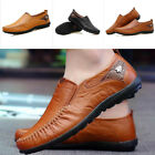 Men Fashion Slip On Leather Shoes Loafers Casual Boat Driving Moccasin Soft