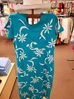 M.MAC • Turquoise  ( Ikat Daisy ) •  Maxi Length Dress Short Sleeve Made in USA