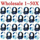 LOT 1~50PCS Gaming Headset Surround Stereo Headband Headphone USB 3.5mm W/LED US