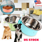 Hang-on Bowl Metal For Pet Dog Cat Crate Cage Food Water Bowl Stainless Steel