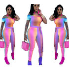 Women off shoulder bodycon club party colorful striped casual long jumpsuit