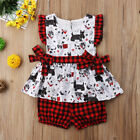 US Stock Toddler Baby Girls Puppy Dog Plaid Tops Shorts 2PCS Outfits Set Clothes