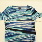 Connected Womens Dress Plus Size Printed Tiered Sheath Dress Striped Blue $79