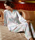 Pure 19MM Silk Floral Print Womens Pajamas Top and Bottom Set