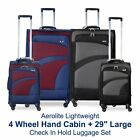 "Aerolite Lightweight 4 Wheel Hand Cabin + 29"" Large Check In Hold Luggage Set"