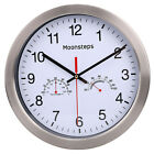 New Temperature/Humidity Wall Clock Silent Non-ticking Indoor Outdoor Wall Clock
