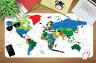 3D Color World Map 252 Non-slip Office Desk Mouse Mat Large Keyboard Pad Game