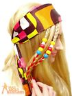 1970s Retro Print Headscarf Disco Hippy Fancy Dress Costume Accessory Ladies