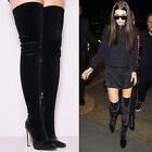 Ladies Womens High Heel Over The Knee Velvet Designer Party Thigh High Boots SZ