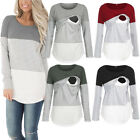Внешний вид - Women Long Sleeve Cotton Maternity Clothes Breastfeeding T-shirt Nursing Tops