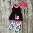 USA Cartoon Kids Baby Girls Summer Outfits Clothes T-shirt Tops Dress+Pants Set image