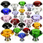 Diamond Shaped Genuine Crystal faceted cupboard door drawer kitchen knobs small