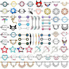 50-styles Pair Cz Opal Nipple Rings Shield Bar Barbell Surgical Steel Piercings