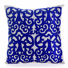"Blue Arabic Pattern Applique 16""X16"" Silk Pillows Cover - Royal Treatment"