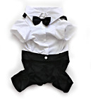 Dog Tuxedo Suit Formal Black White with Bowtie Size L XL XXL Cute Pet Clothes