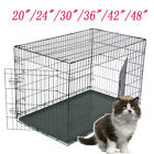 "20""24"" 36""48"" Dog Crate Kennel Folding Pet Cage 2 Door Outdoor Playpen with Pan"
