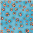 Loralie Fun Paws Fabric Dog Cat Paws Turquoise Toss Quilting Cotton BTHY BTY