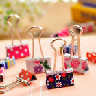 6X Flower Printed Metal Binder Clips Notes Letter Paper Clip Office Supplies VP
