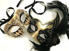 Black Silver/Gold Harlequin Masquerade ball mask Pair Feather Costume Prom Party