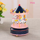 1pc Wooden Merry-Go-Round Carousel Music Box Kids Toys Gift Wind-Up Musical Box