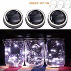 3-Pack Solar Powered Mason Jar Lid 20 LED Fairy String Lights Party Garden Decor