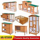 Wooden Chicken Coop Hen House Rabbit Hutch Wood Cage Pet Animal House Durable US