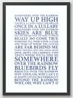 Somewhere Over the Rainbow Wizard of Oz Song Lyrics Typography A3 Print Poster