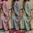 US Women Tunic Plus Size Kaftan V Neck Cotton Linen Loose Maxi Pocket Long Dress