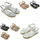 Womens Platform Sandals Espadrilles Ladies Studded And Pearl Straps Summer Shoes