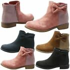 GIRLS ANKLE BOOTS KIDS CHILDRENS SMART SCHOOL BOW STUDDED GLITTER STYLE SIZE NEW