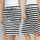 Womens Casual Fashion Cotton Stripe Loose Straight Hight Waist Maxi Mini Skirt