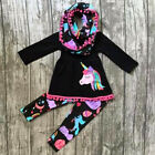 FixedPriceusa unicorn kids baby girls outfits clothes t-shirt tops dress +floral leggings
