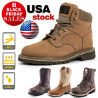 Men's Steel Toe Work Boots Pull On Safety Genuine Leather Oil Resistant Brown