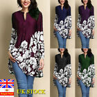 Plus Size Uk Women Boho Floral Long Sleeve Blouse Baggy Tops Tunic Dress T Shirt