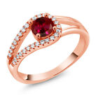 0.95 Ct Round Red Created Ruby 18K Rose Gold Plated Silver Ring