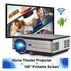 """Android 6.0 Bluetooth Home Theater Projector Table Top Projector USB+100"""" Screen"""