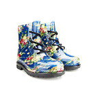 Chemistry Women's Ankle Flat Blue Flower Transparent Jelly Martin Rain Boots