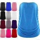 Ladies New Plain Strapless Sleeveless Ruched Boob Tube Womens Bandeau Top 8-24