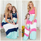 Внешний вид - Mother and Daughter Casual Boho Stripe Maxi Dress Mommy&Me Matching Outfits
