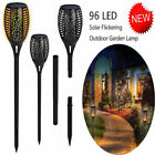 UK 4x96 LED Flickering Flame Lighting Lights Solar Garden Waterproof Torch Lamps