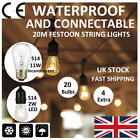 20M Connectable Garden Festoon String Lights S14 2W LED/11W Incandescent Bulb UK