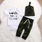 Newborn Baby Boy Coming Home Cotton Outfits Romper Camo Long Pants Clothes USA