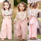 US 2PCS Toddler Kids Baby Girl Winter Clothes Floral Tops+ Pants Overall Outfits