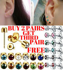 Ear Piercing Studs Stud Earrings Surgical Steel Pairs Rose Gold Silver