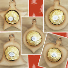 CHRISTMAS TREE BAUBLES FITS FERRERO ROCHER CHOCOLATES SET OF 5 WOODEN ORNAMENTS