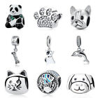 925 Sterling Silver European Charm Beads Pendant Pets Dog Cat Paw Bracelet DIY