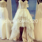 Vintage Lace High Low Wedding Dress A Line Sleeveless Tiered Skirts Bridal Gown