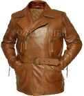 Mens Brown 3/4 Motorcycle Biker Long Cow-Hide Leather Jacket/Coat