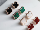 7 color clover earrings 925 Silver Post